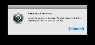 Time Machine Error Message